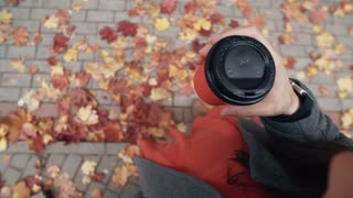 Autumn. Top view of young stylish woman holding a paper cup of coffee under the feet a fallen beautiful maple leaves 4k