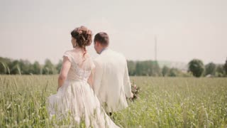 Back view of a couple in love walking in a wheat field holding hands on their wedding day. Beautiful wedding outfits
