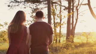 Beautiful sunset in nature. Lovers walk in forest, hold hands woman touches leaves. Slow mo, steadicam shot, backview