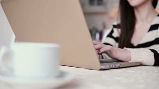 beautiful young brunette woman uses laptop in a bright dining. slider to the right
