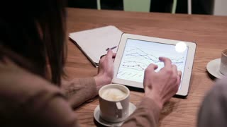 Business people working with charts on tablet