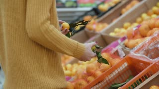 Close-up view of woman s hand choosing lemons in supermarket, holding two fruits then put it back. Pick up oranges. 4K