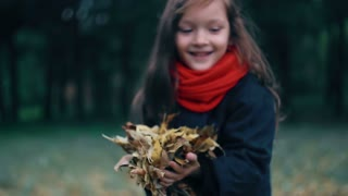 closeup of a beautiful cute little girl collects yellow autumn leaves and throws them up