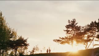 Couple walking on a hill holding hands at beautiful sunset in nature. Sun rays shine. Natural landscape, trees. Slow mo