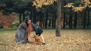 cute funny little girl having fun with mom in the amazing autumn park slow motion