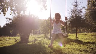 Cute little beautiful girl having fun on swing in a tree swing and smile at the park on sunset