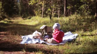 Cute little boy have picnic in the forest at autumn, sitting on the grass and eating outdoor. Side view.