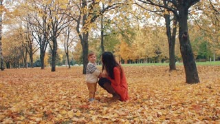 cute little boy posing, making funny faces, serious, hurt, fun, standing with his mother in autumn park slow mo