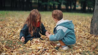 cute little brother and sister playing in the autumn park, boy throws on girl yellow fallen leaves 4k