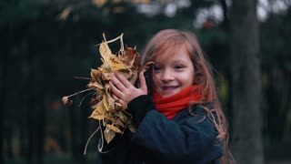 funny, cheerful cute little girl close-up collects yellow autumn leaves and throws them up looking at camera slow motion