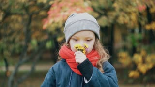 funny little girl holding a small bouquet and enjoy the scent of wildflowers in the amazing autumn park slow motion