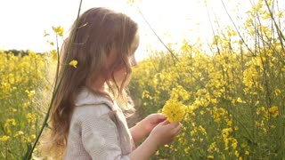 little girl picking flowers and throws up petals
