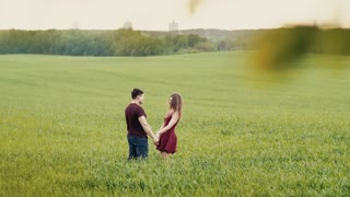 Loving couple hug, standing in a field. They smile happily, look at each other, hold hands. Slow mo