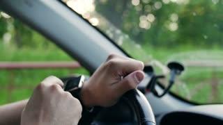 Man hands using smartwatch touchscreen