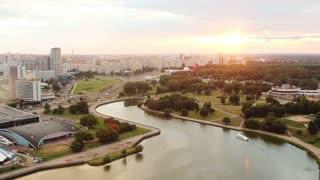 Minsk City Timelapse.  River Svisloch. Belarus