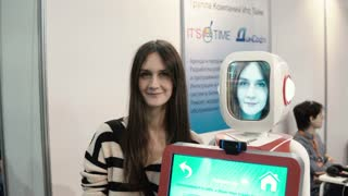 NOVEMBER 5, 2016 RUSSIA, MOSCOW Robotics Expo. Humanoid robot with woman face, who communicate with people by voice. 4K