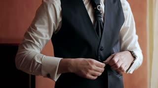 stylish man dress shirt, suit and vest