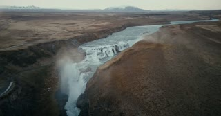 Aerial view of the beautiful landscape of the famous touristic place in Iceland. Waterfall Gullfoss in the crevice.
