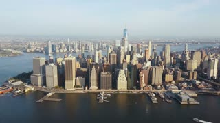 Aerial view of the capital of America, New York. Drone flying over the Manhattan on the shore of the East river.