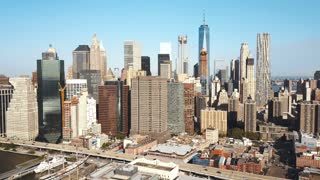 Aerial view of the Manhattan, financial district with skyscrapers. Drone flying around the offices in New York, America