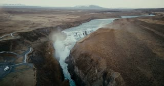Aerial view of the scenic landscape in Iceland. Waterfall Gullfoss in the crevice, clear mountain river. Famous place.