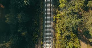 Aerial view of train tracks in autumn forest. Concept of challenging life journey, way to the future, chasing dreams.