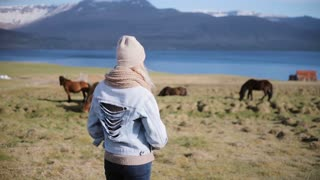 Back view of young stylish woman standing on the nature and looking on the Icelandic horse grazing on a field.