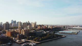 Beautiful aerial landscape of the Brooklyn district in New York, America. Drone flying over the East river.