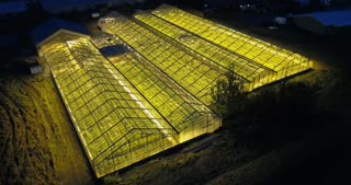 Beautiful aerial view of the large greenhouse with light in it. Ecological farm shining in the dark night.