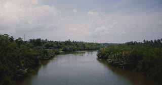 Beautiful aerial view scenery of wide river flowing in the jungle with tropical green bushes. Wilderness landcape.