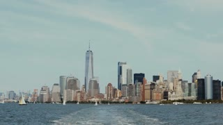Beautiful downtown landscape on the Manhattan, New York, America from the boat riding through the East river.