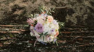 Beautiful elegant bouquet lying on the log at the forest. Fresh flower composition on the nature background.