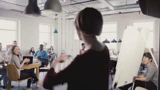 Camera follows Caucasian businesswoman enter multi-ethnic office doing funny dance walk of success and celebration 4K.