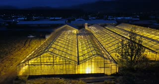 Copter flying over the green house with light inside in night. Aerial view of the garden. Agriculture farm in a field.