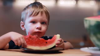 Cute little boy looking to the camera, eating watermelon and laughing. Happy male holding a slice and shout of joy.