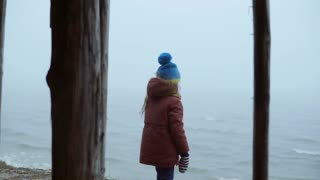 Cute little girl standing on the shore of the ocean and looking on the waves. Pensive child on the beach in foggy day.