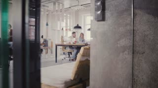 Dolly shot of casual multiethnic office workers enjoying healthy office atmosphere. Teamwork, view through glass wall 4K