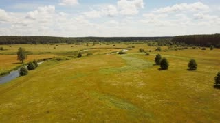 Drone flying low over summer meadow and river. Aerial shot of calm countryside valley landscape. Bright sunny field 4K.