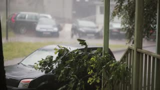 Heavy downpour on cars, trees and ground and a lightning with sound.