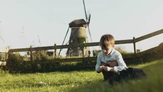 Little Caucasian boy playing near rustic windmill. Happy kid collecting flowers in village scenery. Tranquillity. 4K