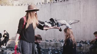 Mother and siblings feed pigeons from hands. Fun. Birds sit on woman's hand and girl's head. Slow motion. Funny moments.