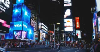 NEW YORK CITY 18 08 2017 Times Square night traffic and billboards timelapse 4K. Famous USA tourist attraction. Travel.