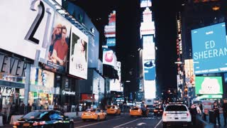 NEW YORK, USA, 18. 08. 2017 View of Time square with lots of commercial and traffic road in New York, America in evening.