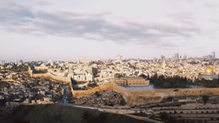 Panorama of old town Jerusalem, Israel. Panning right from Mount of Olives to Al-Aqsa, Temple Mount, Dome of the Rock 4K