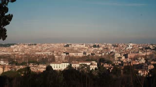 Panorama of the ancient city of Rome, Italy. Camera moving right.