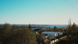 Panoramic view of the Reykjavik city, the capital of Iceland. Camera turning around the downtown.