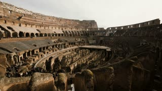 ROME, COLOSSEUM-29. 01. 2017 Stop motion shot inside Colosseum, Italy. Tourists coming to see ruins, historical monument
