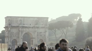 ROME, ITALY-29. 01. Stop motion view of famous place in Rome, Italy. Big crowd of people walking near the arch of Titus.