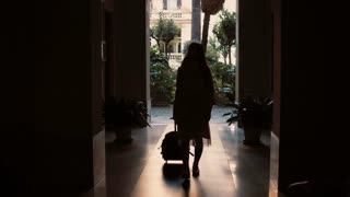 Silhouette of woman going through the dark tunnel. Girl with suitcase walks in the garden, opens the door and goes away.