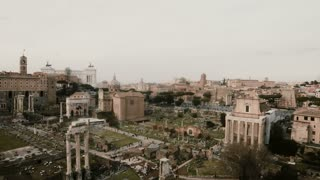 Stop motion shot of the Arch of Septimius Severus in Rome, Italy. The House of Vestals lies at foot of Palatine Hill.